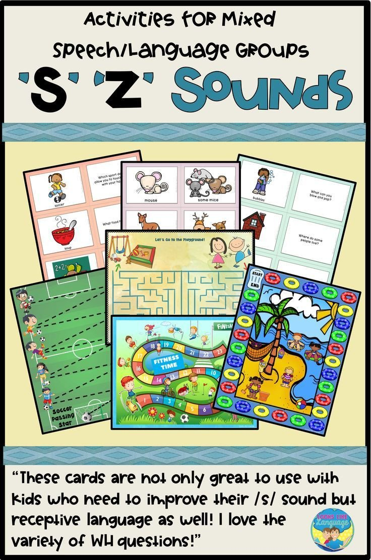 S and Z sounds Worksheets Mixed Groups Language and Artic