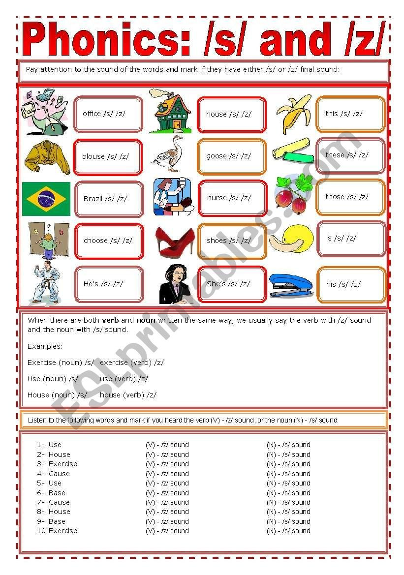S and Z sounds Worksheets Phonics S Z Esl Worksheet by Zailda