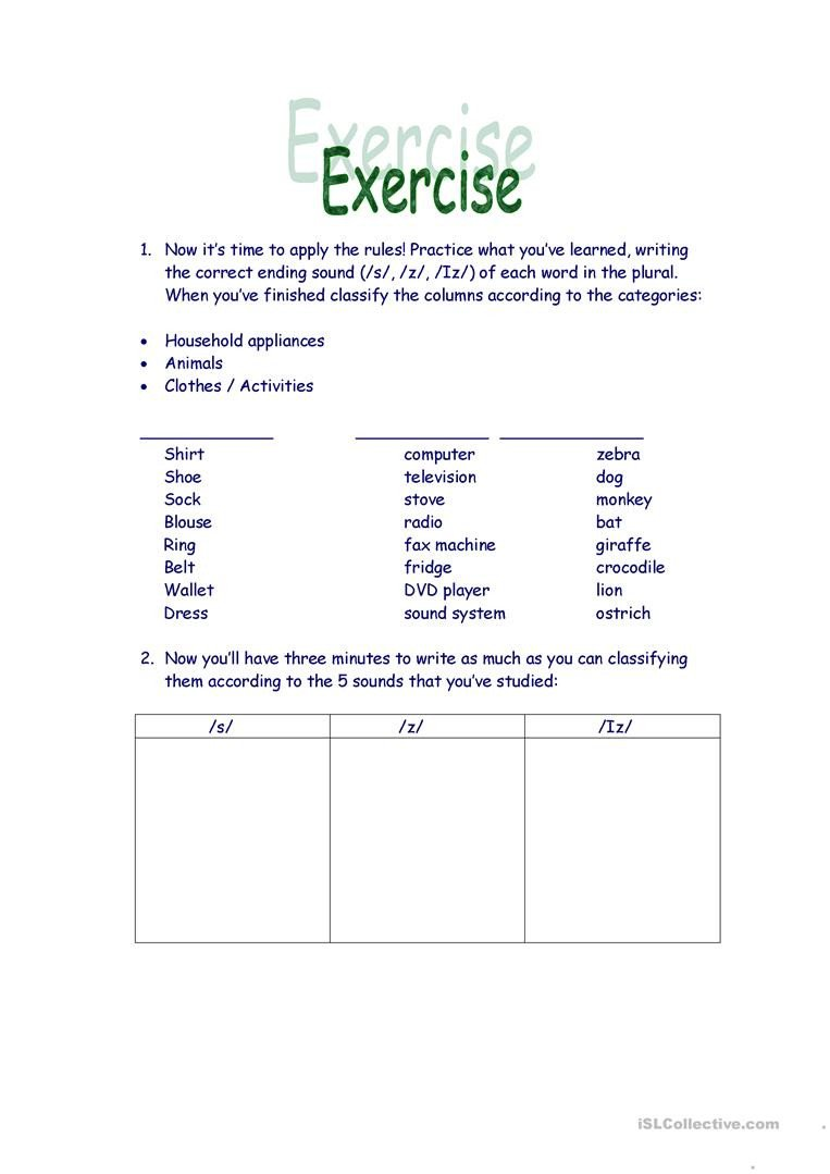 S and Z sounds Worksheets Third Person Pronunciation English Esl Worksheets for