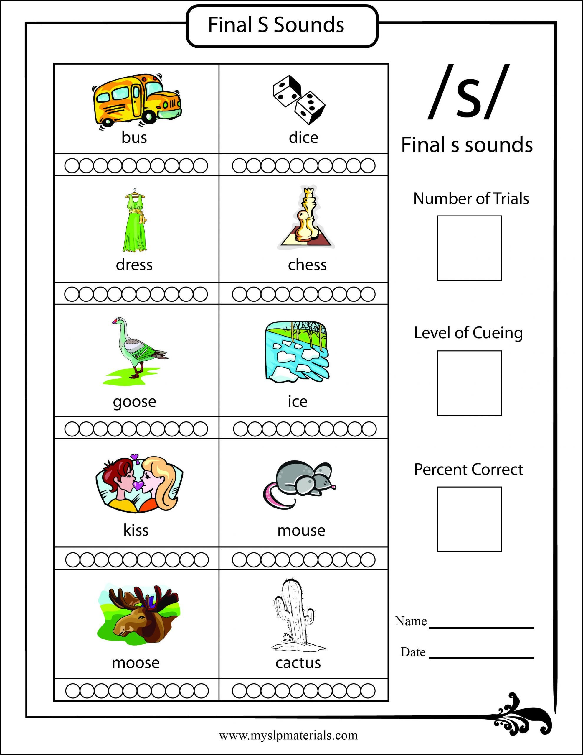 S sound Worksheet Final S sound Word Level