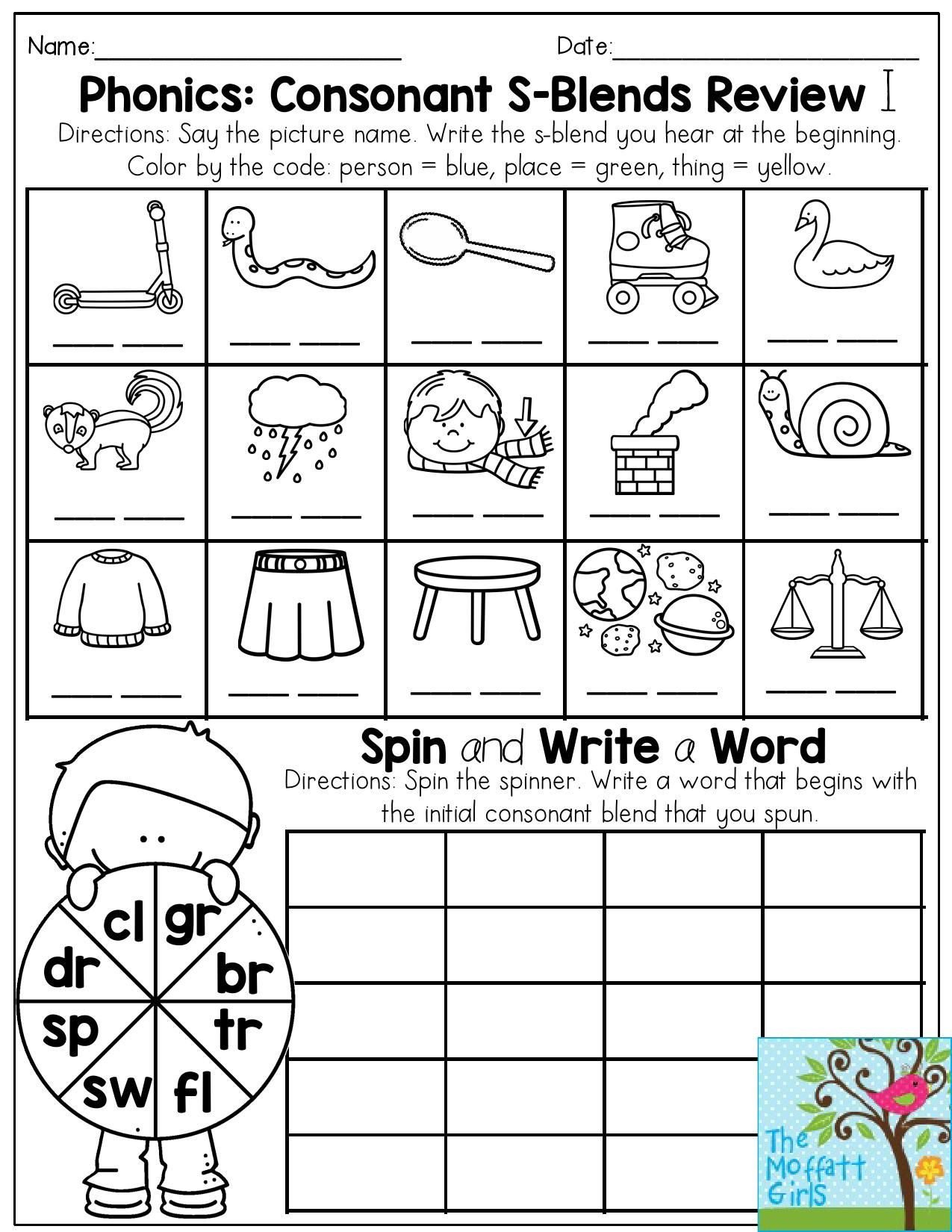 S sound Worksheet Phonics Consonant S Blends Review Write the S Blend that