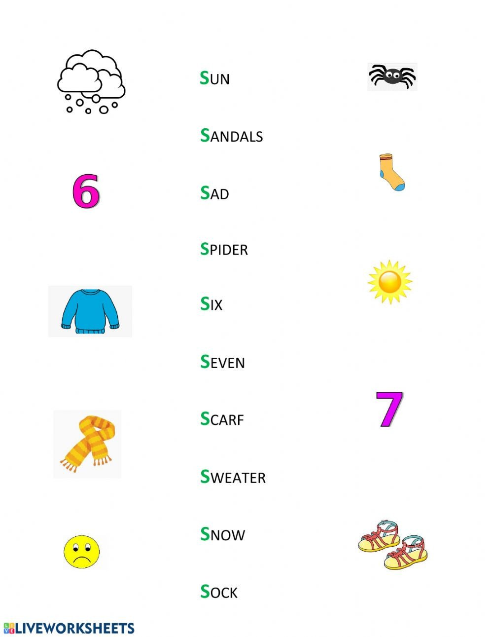 S sound Worksheet S sound Worksheet Interactive Worksheet