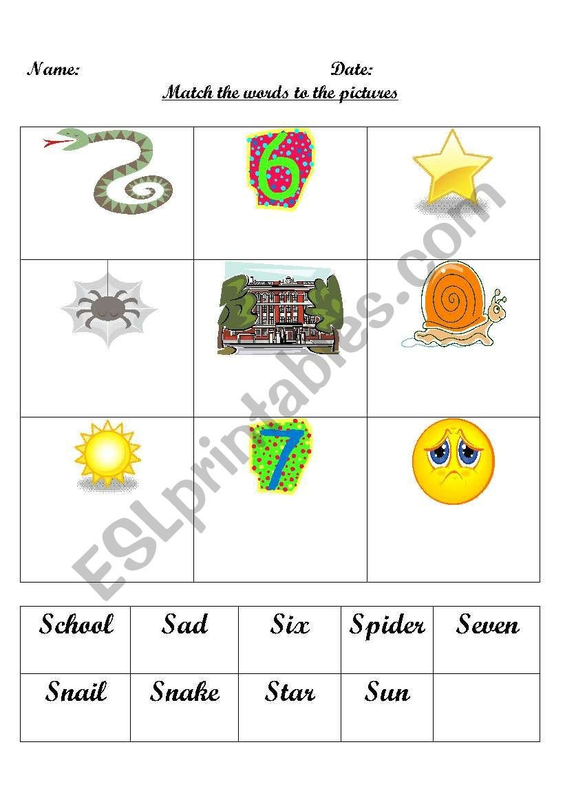 S sound Worksheets English Worksheets First sound S Word Match