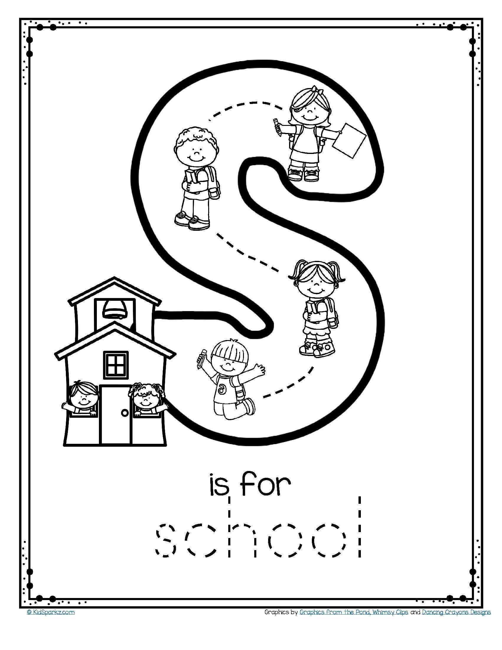 S sound Worksheets Letter S is for School Trace and Color Printable Free