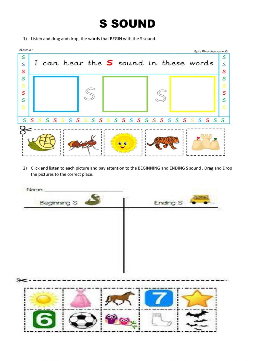 S sound Worksheets S sound Interactive Worksheet