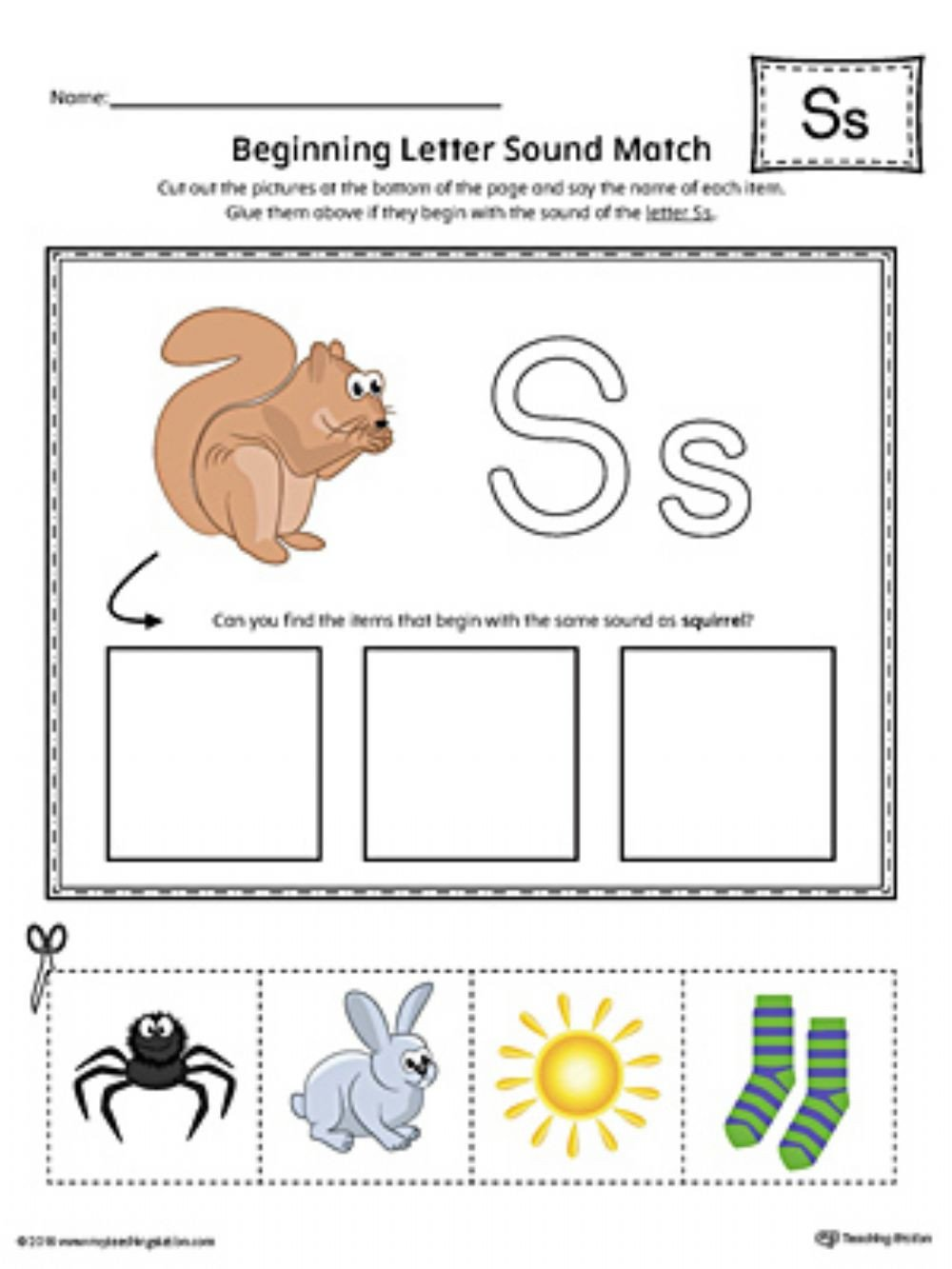 S sound Worksheets sound S sorting Worksheet Interactive Worksheet