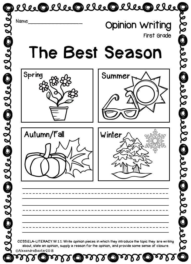 Seasons Worksheets for First Grade Math Worksheet First Grade Opinion Writing