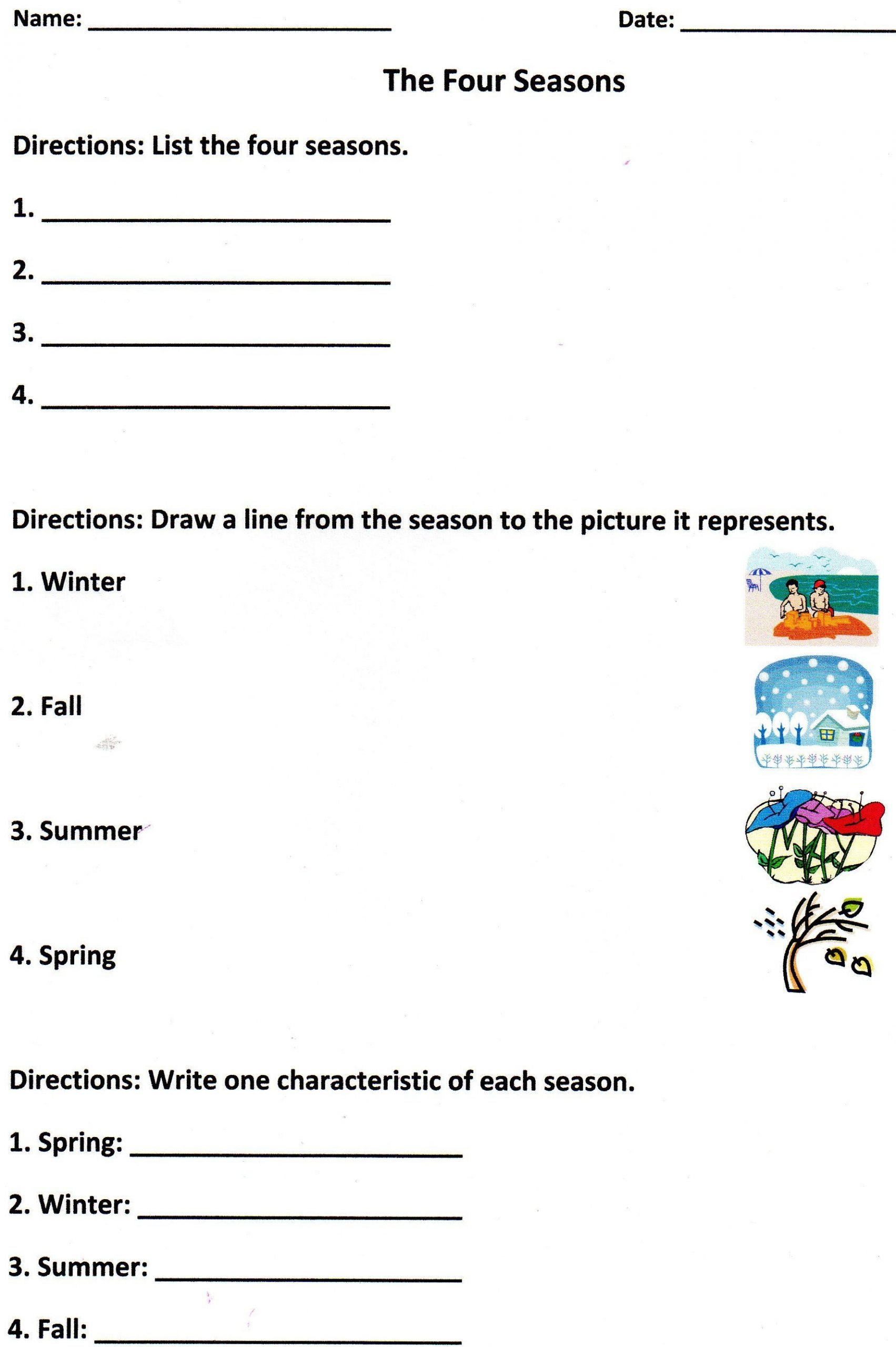 Seasons Worksheets for First Grade the Four Seasons assessment for K 1