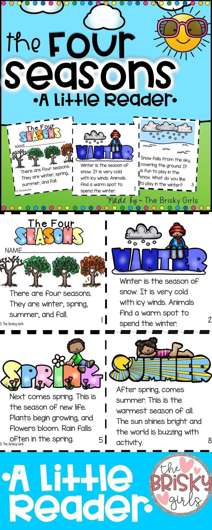 Seasons Worksheets for First Grade the Four Seasons Reader