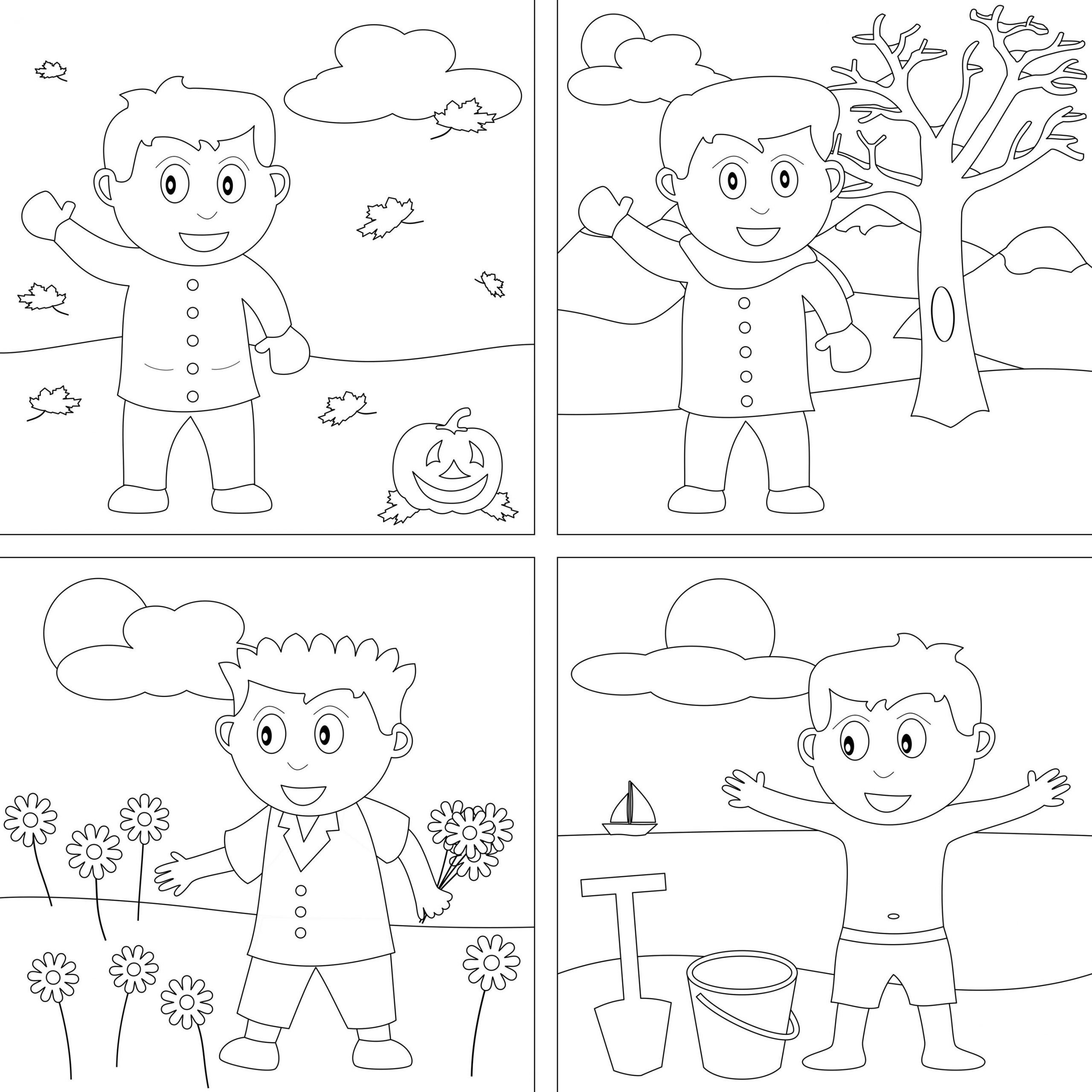 Seasons Worksheets for Kindergarten 4 Seasons Coloring Pages