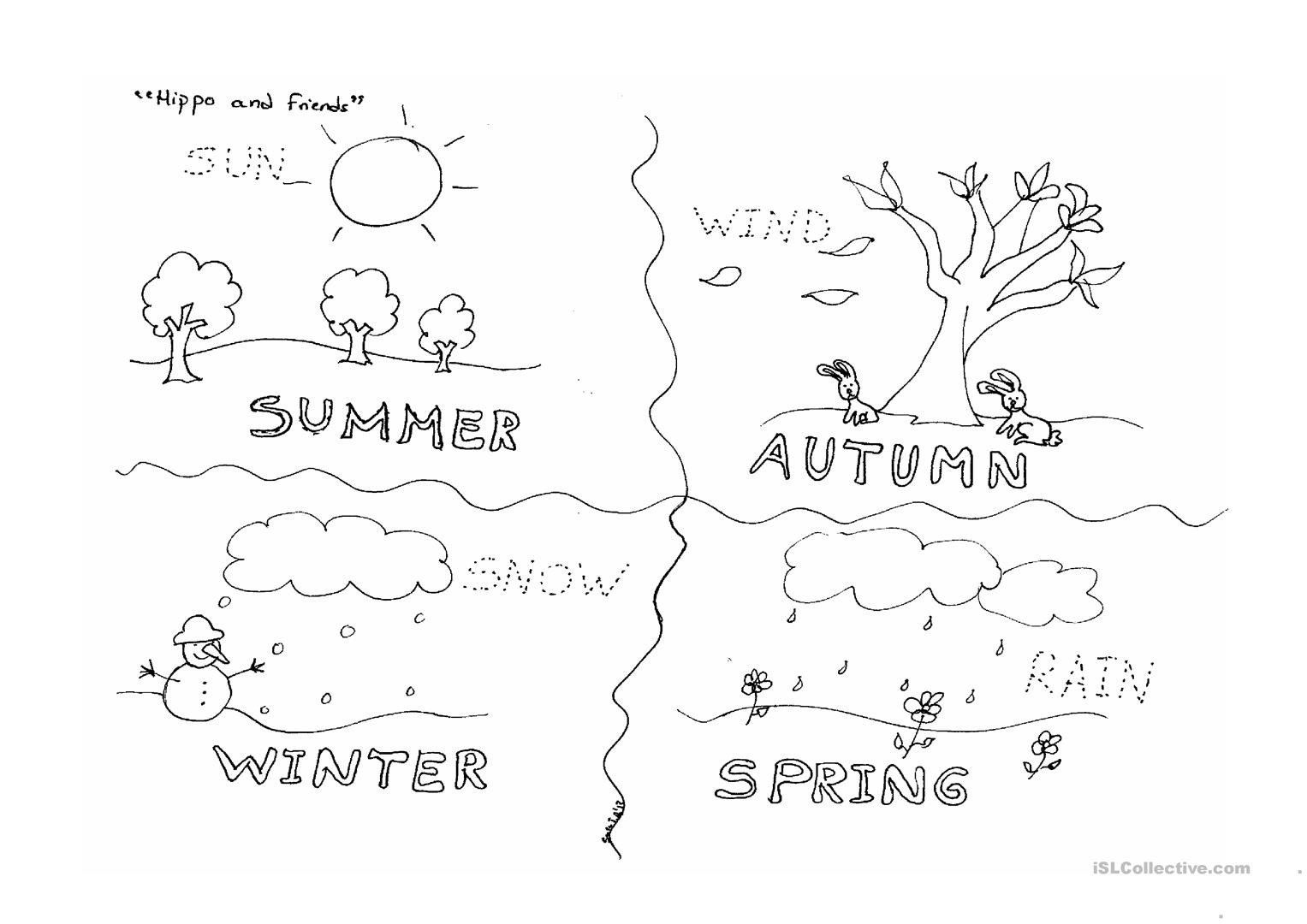 Seasons Worksheets for Kindergarten Four Seasons English Esl Worksheets for Distance Learning