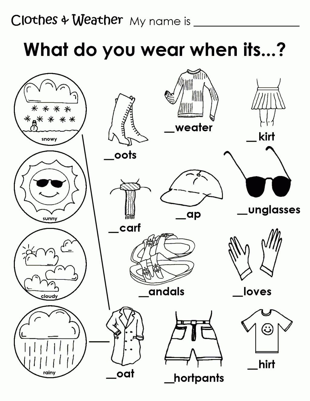 Seasons Worksheets for Kindergarten Printable Weather Clothes Worksheet