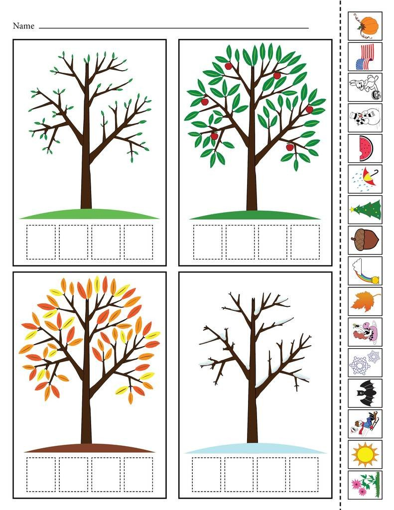 "Seasons Worksheets for Kindergarten ""season Match Up"" Printable 4 Seasons Matching Worksheet"