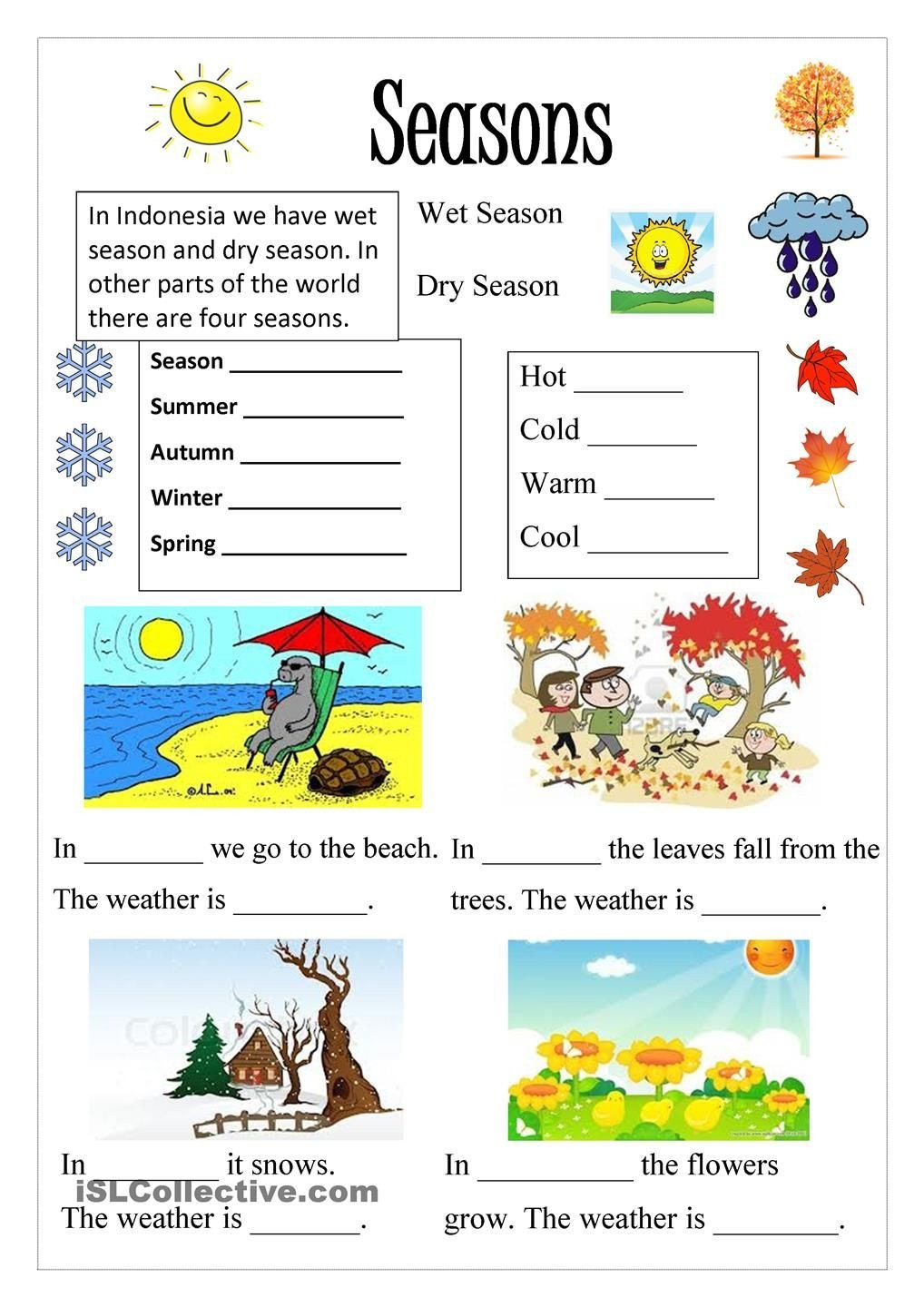 Seasons Worksheets for Kindergarten Season