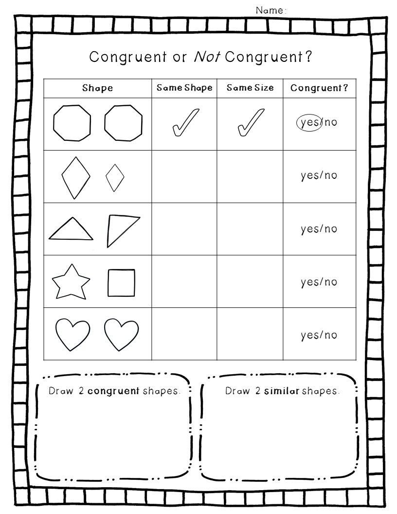 Second Grade Geometry Worksheets Congruent Shapes Worksheet
