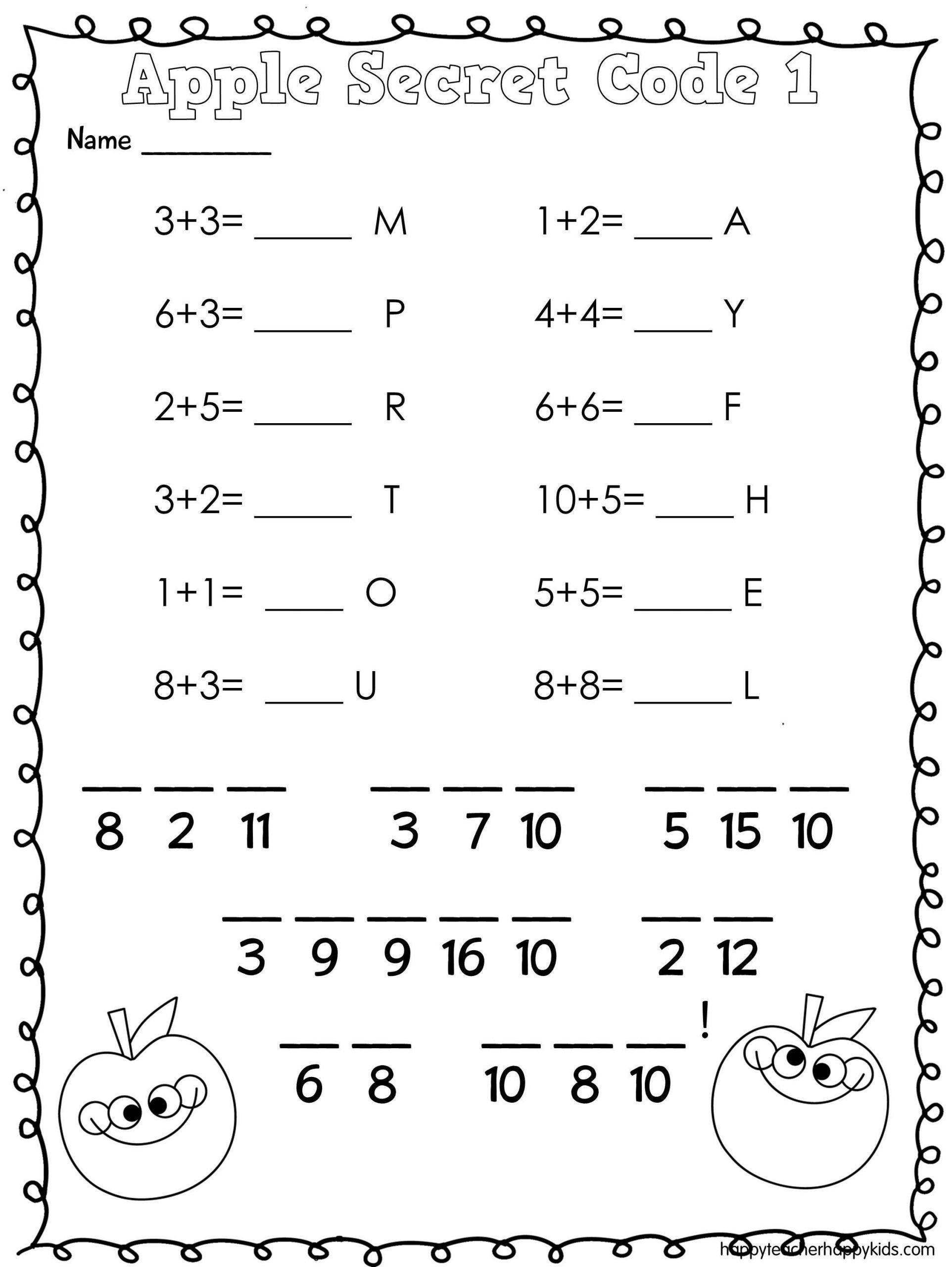 Secret Code Math Worksheets Apple Math and Literacy Fun