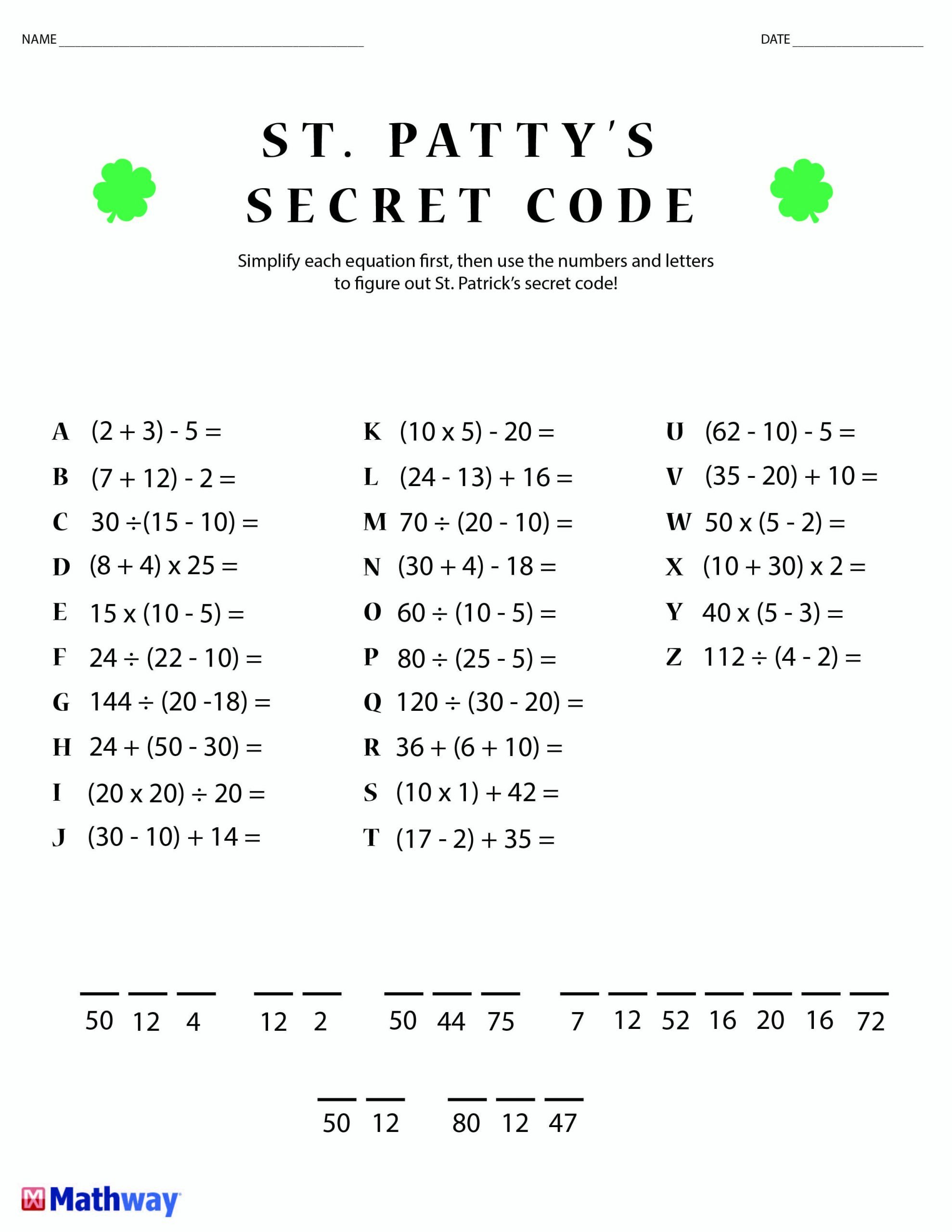 Secret Code Math Worksheets Pin Su Math Worksheets