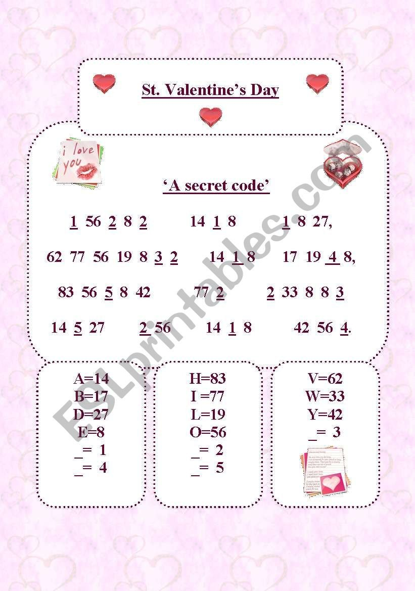 Secret Code Worksheets Pdf A Secret Code Esl Worksheet by Maria
