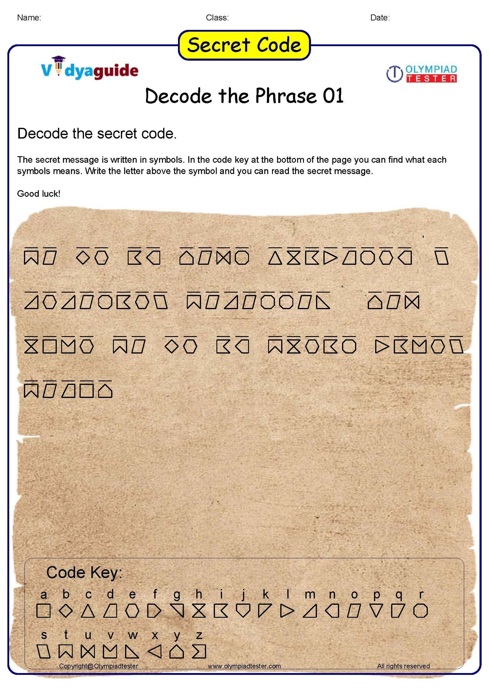 Secret Code Worksheets Pdf Puzzles for Kids Secret Code 01