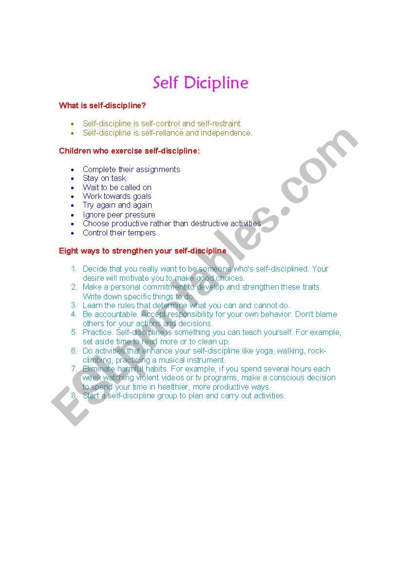 Self Discipline Worksheets English Worksheets Self Discipline In Kids