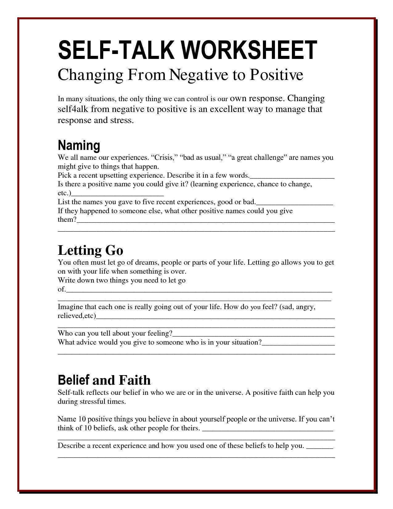 Self Esteem Worksheets Adults Cbt Self Esteem Worksheets