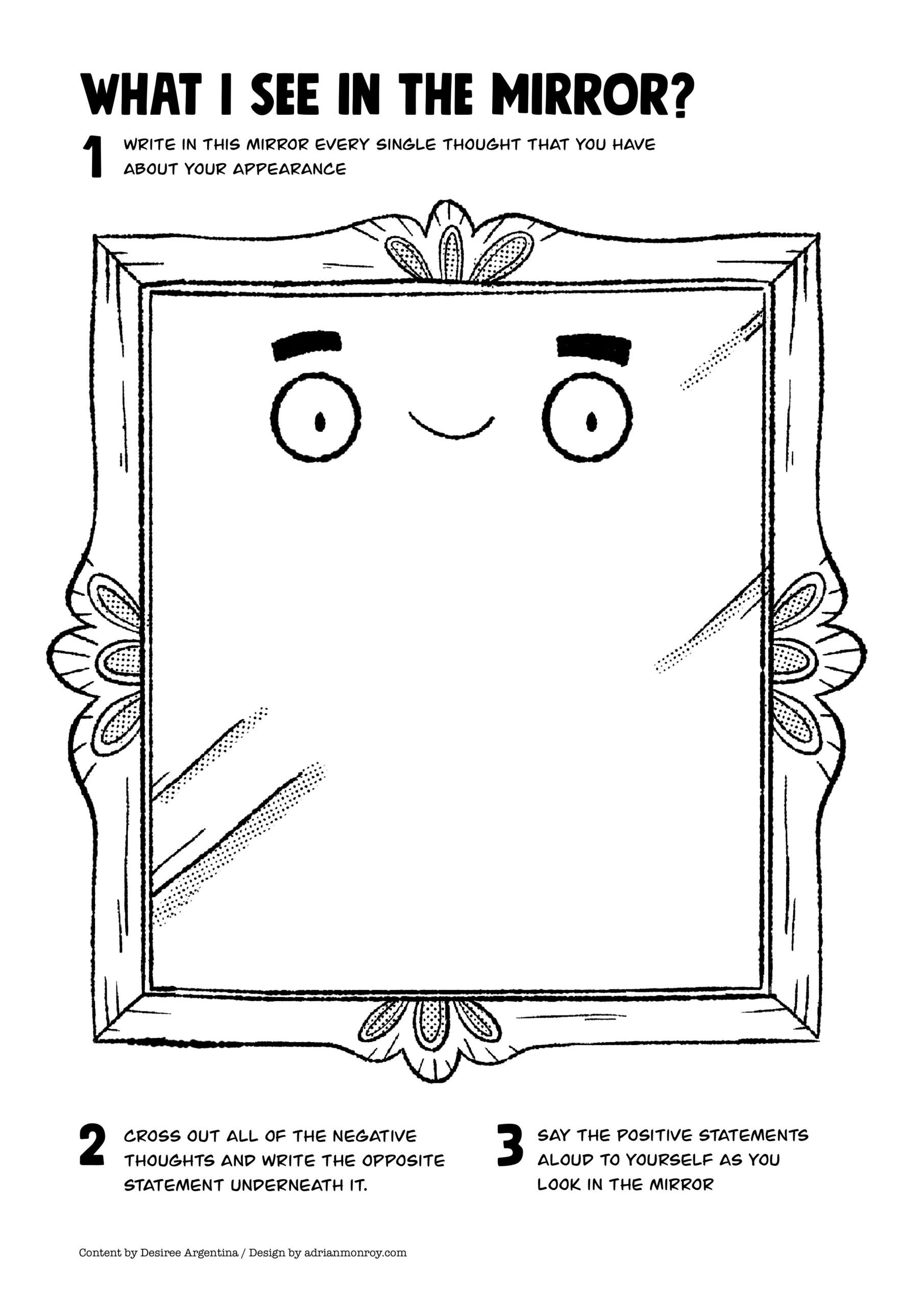 mirror self esteem worksheet for kids and teens accordingtodes worksheets the scaled