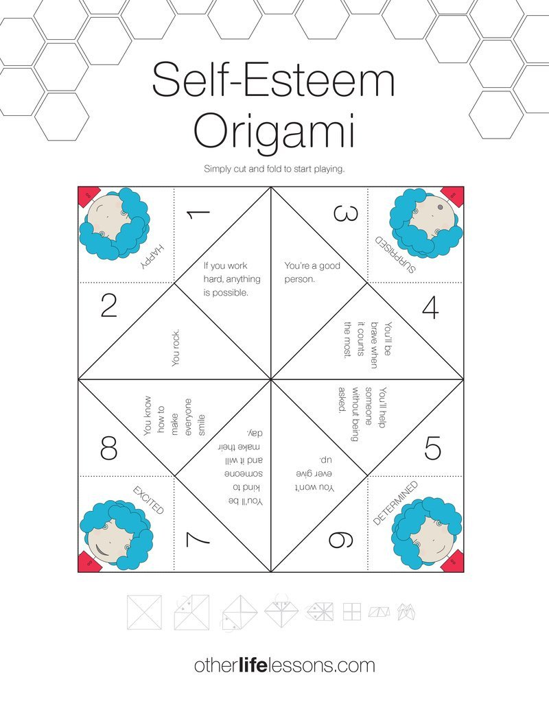 Self Esteem Worksheets for Kids Self Esteem origami Game Free Printable – Other Life Lessons