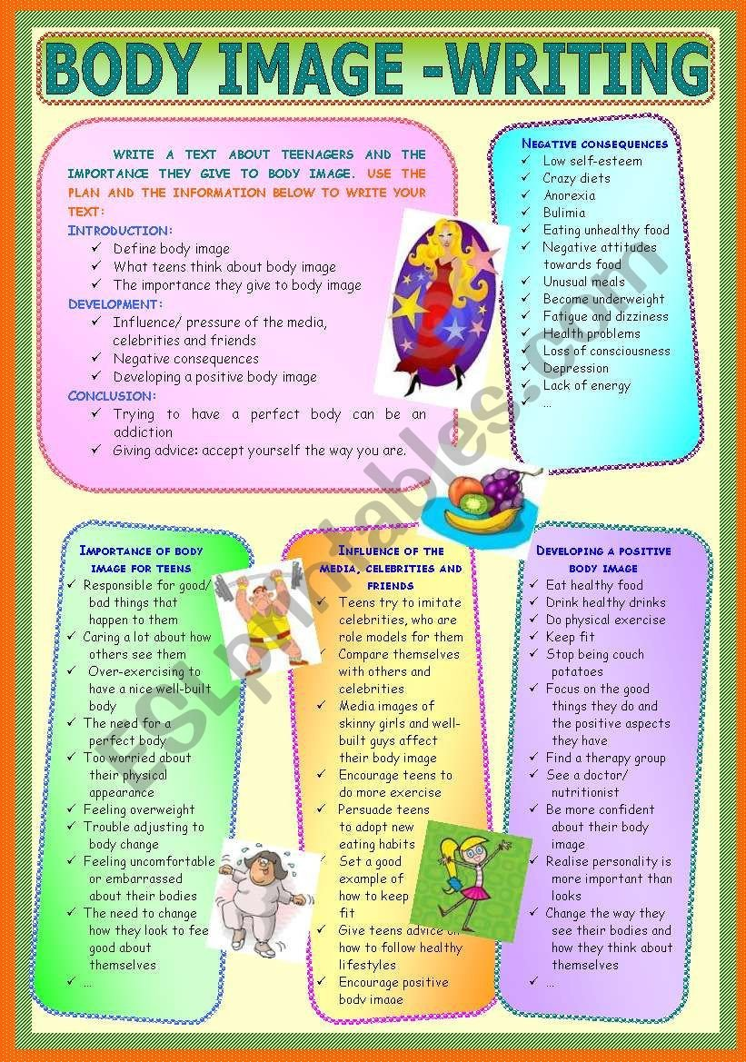 Self Esteem Worksheets for Teenagers Body Image Writing Esl Worksheet by Paula Esl