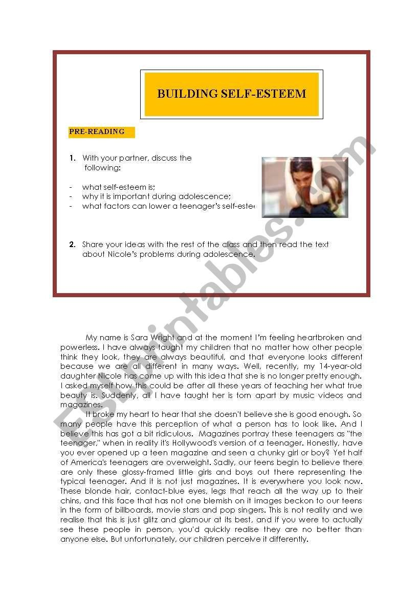 Self Esteem Worksheets for Teenagers Teens and Self Esteem Esl Worksheet by Ocean Rain
