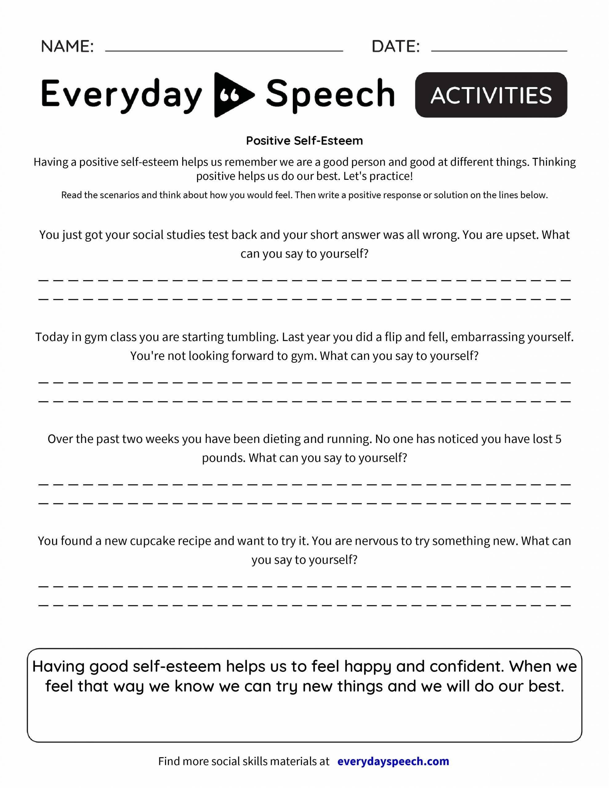 Self Esteem Worksheets for Youth Self Esteem Worksheets for Juveniles