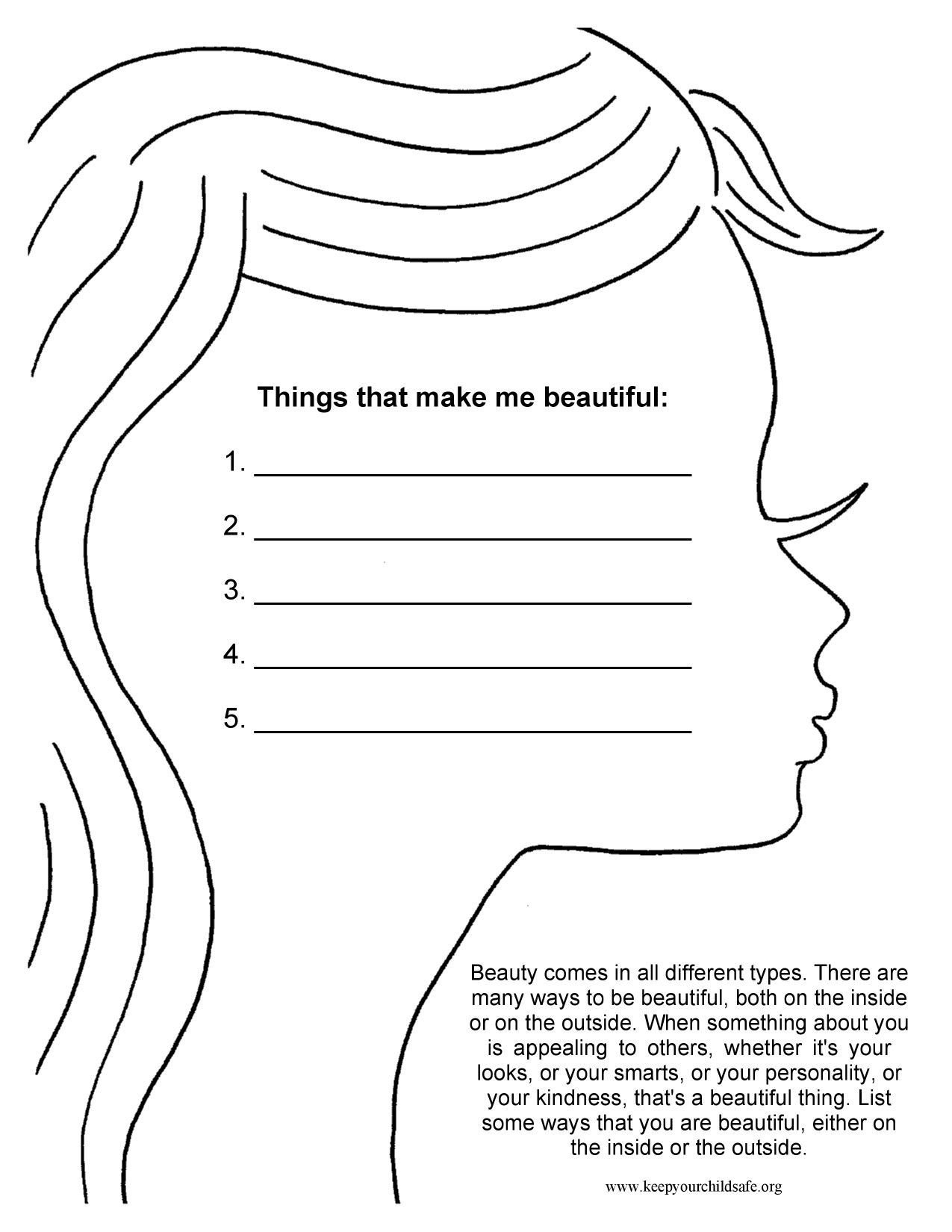 Self Esteem Worksheets for Youth Things that Make Me Beautiful