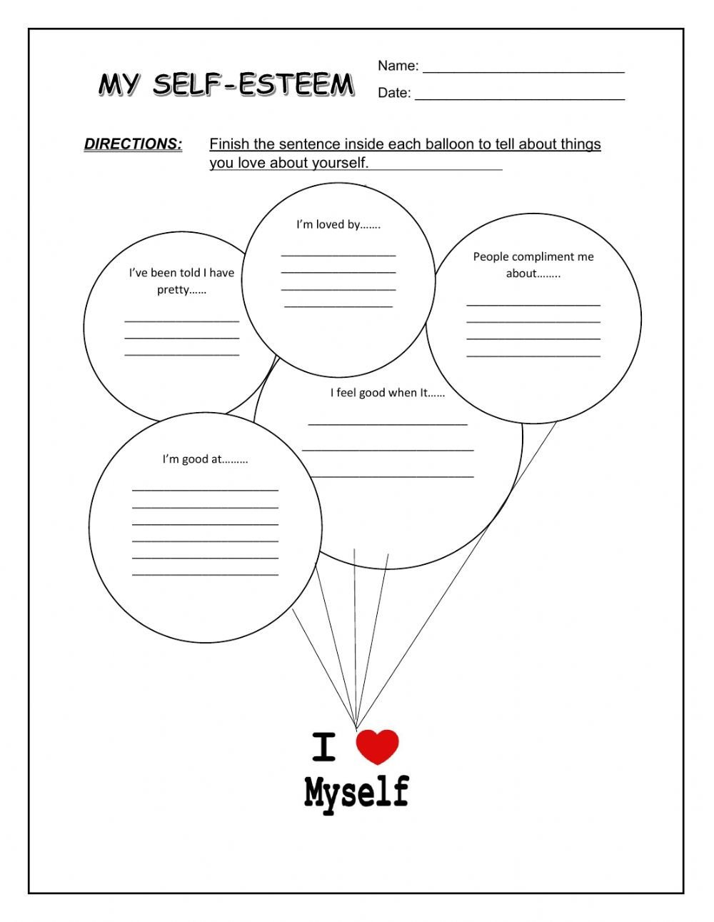 Self Esteem Worksheets Girls My Self Esteem Interactive Worksheet