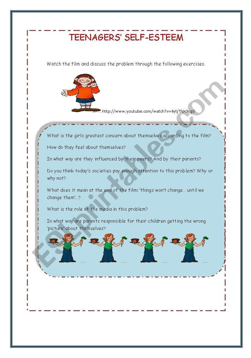 Self Esteem Worksheets Girls Teenagers´ Self Esteem Esl Worksheet by Loralay