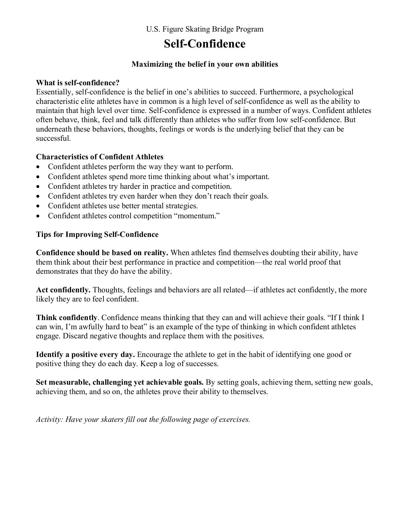 Self Esteem Worksheets Pdf Goal Setting and Self Confidence Worksheets Pdf Pages 1 4