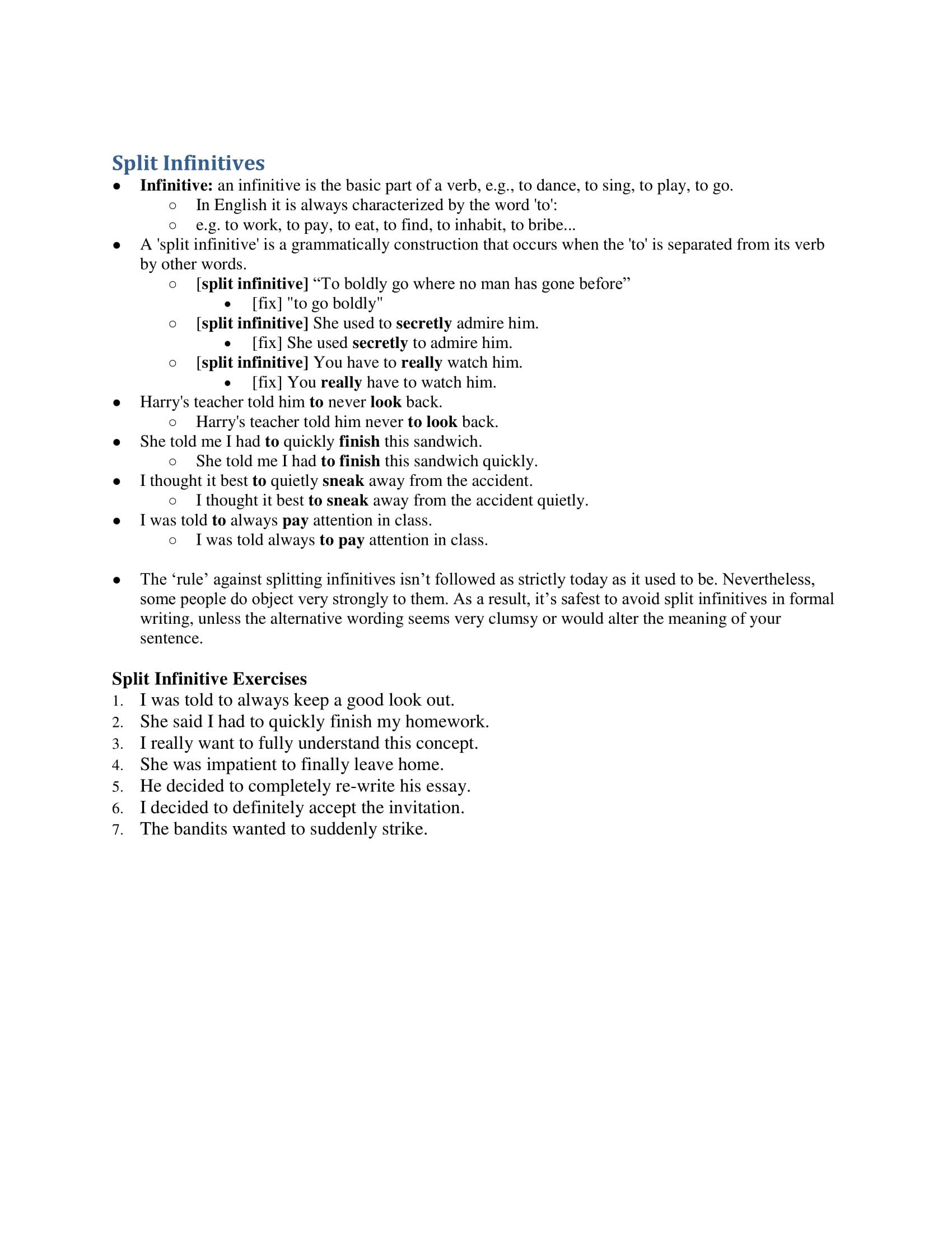 Sentence Imitation Worksheets 10 Split Infinitive Examples Pdf