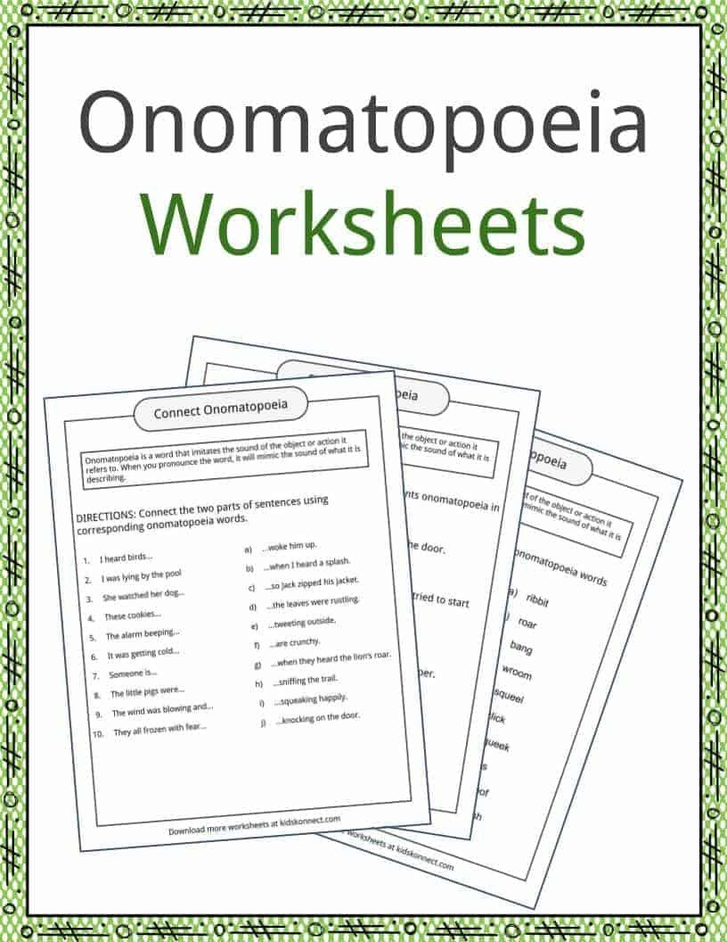 Sentence Imitation Worksheets Omatopoeia Examples Definition and Worksheets