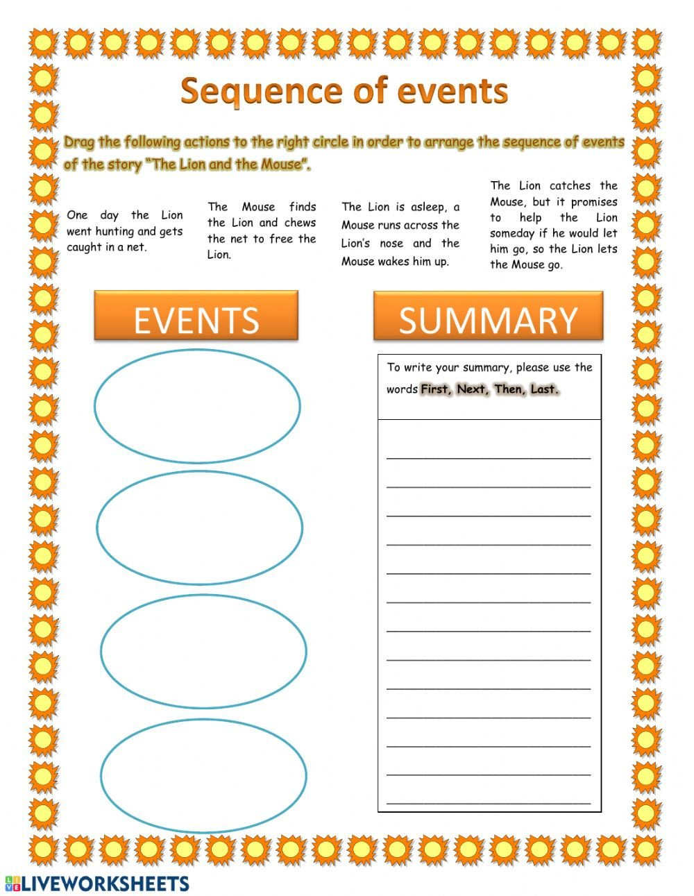 Sequence Of events Worksheets Pdf Sequence Of events and Summary Interactive Worksheet