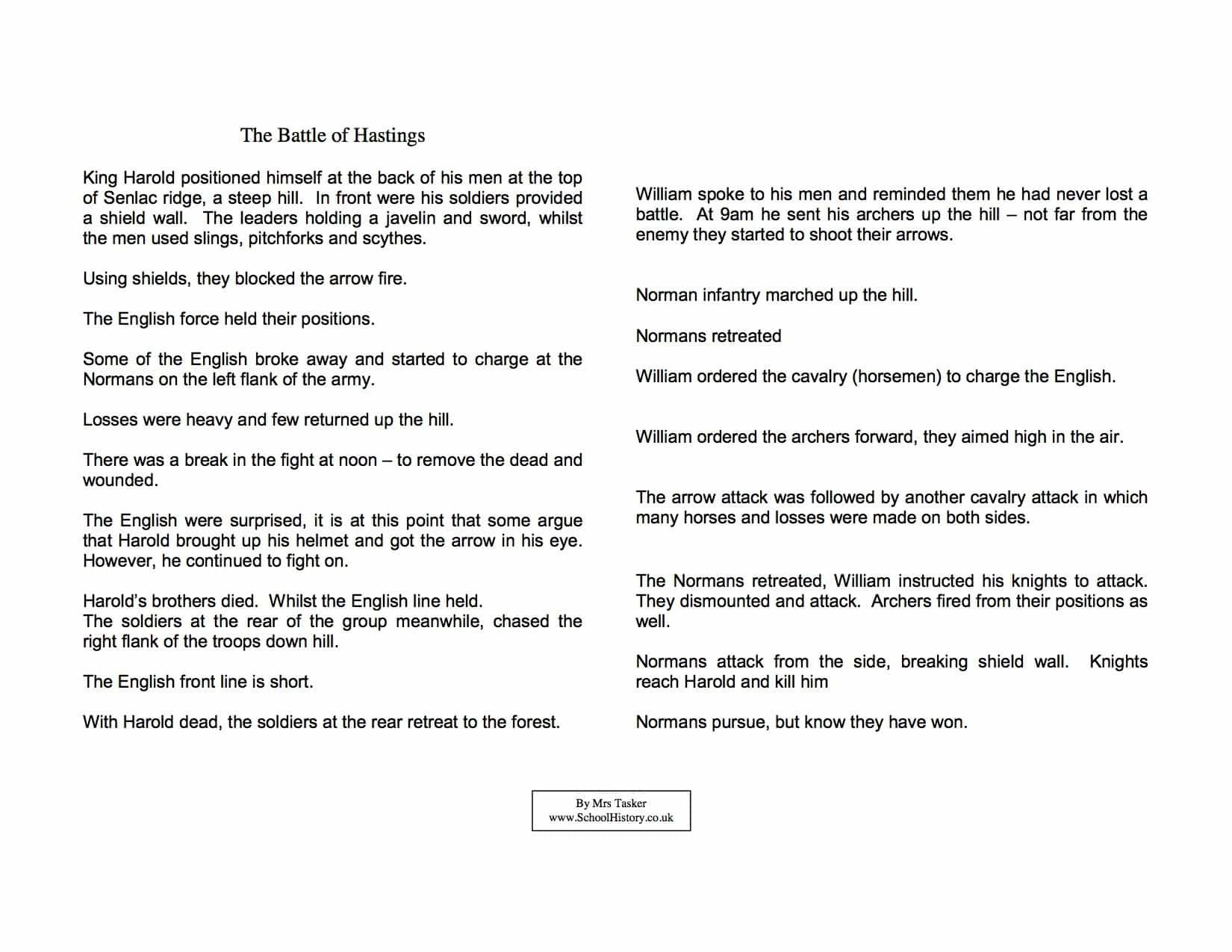 Sequence Of events Worksheets Pdf the Battle Of Hastings Sequence Of events Pdf Worksheet