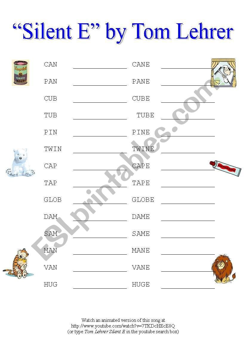"""Silent E Worksheet Activity Based On the Humourous """"silent E"""" song by tom"""