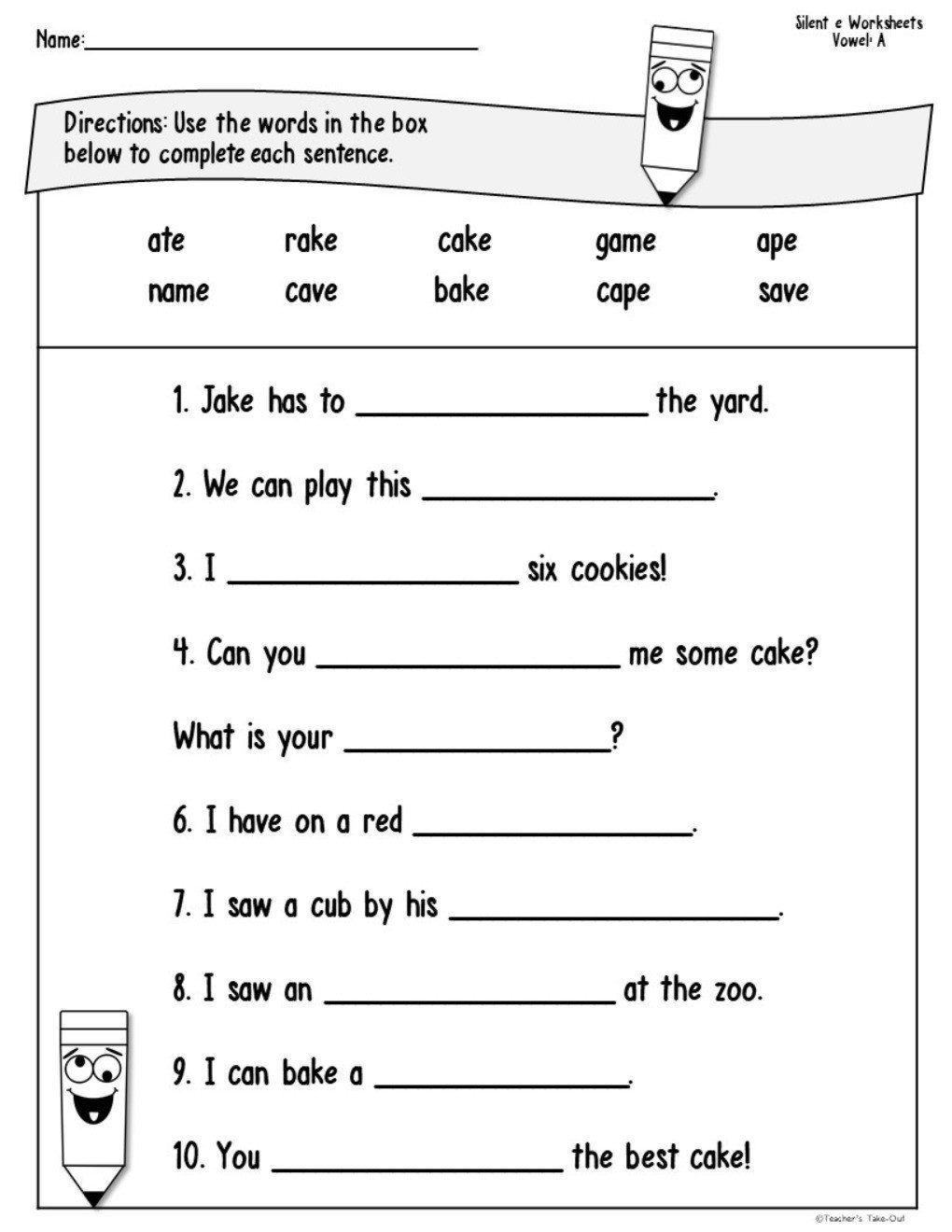 Silent E Worksheet Silent E Worksheets