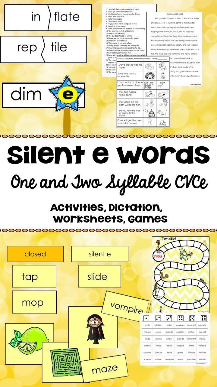 Silent E Worksheet This Activity Pack Provides Resources to Teach Silent E