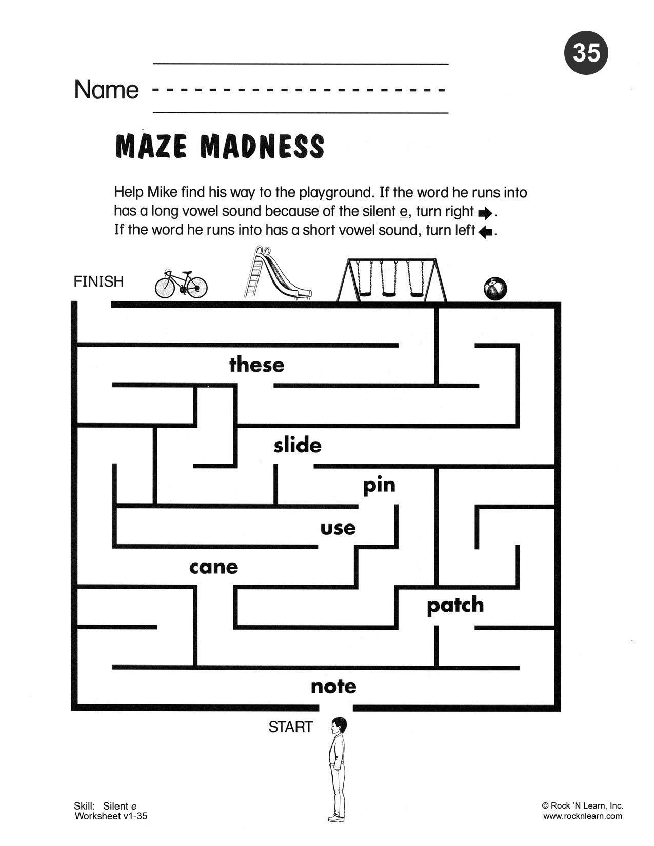 Silent E Worksheets 2nd Grade Help Mike Find His Way to the Playground if the Word He