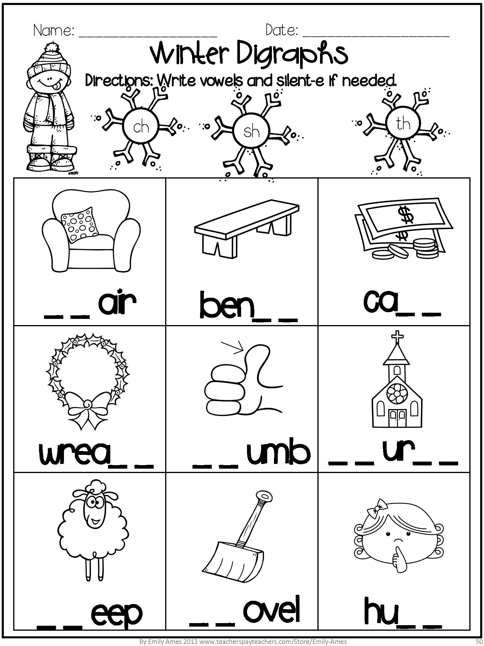 Silent E Worksheets for Kindergarten Winter Math and Word Fun Mon Core