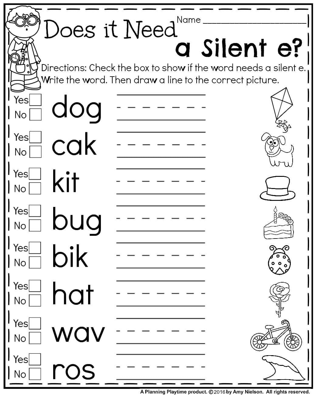 Silent E Worksheets Grade 2 First Grade Summer Worksheets Planning Playtime