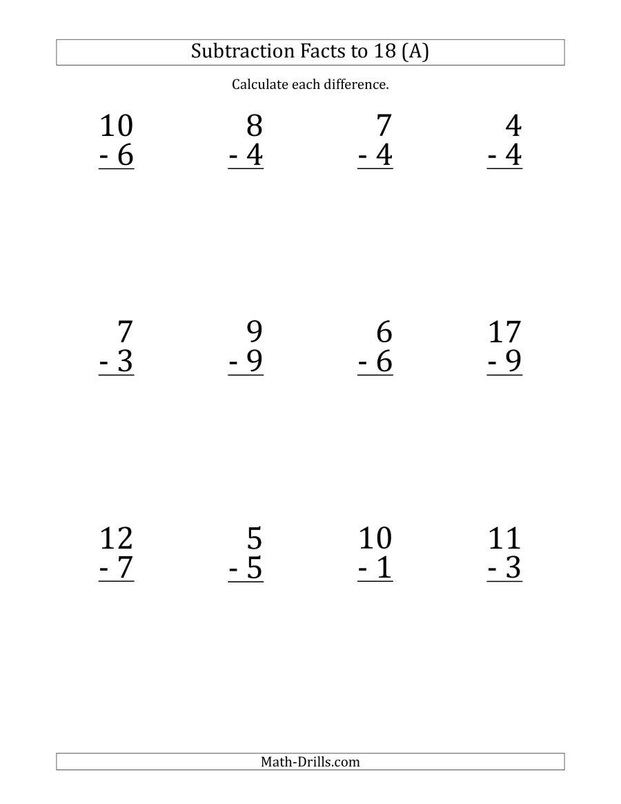 Single Digit Subtraction Worksheets Pdf 12 Vertical Subtraction Facts with Minuends From 0 to 18 A