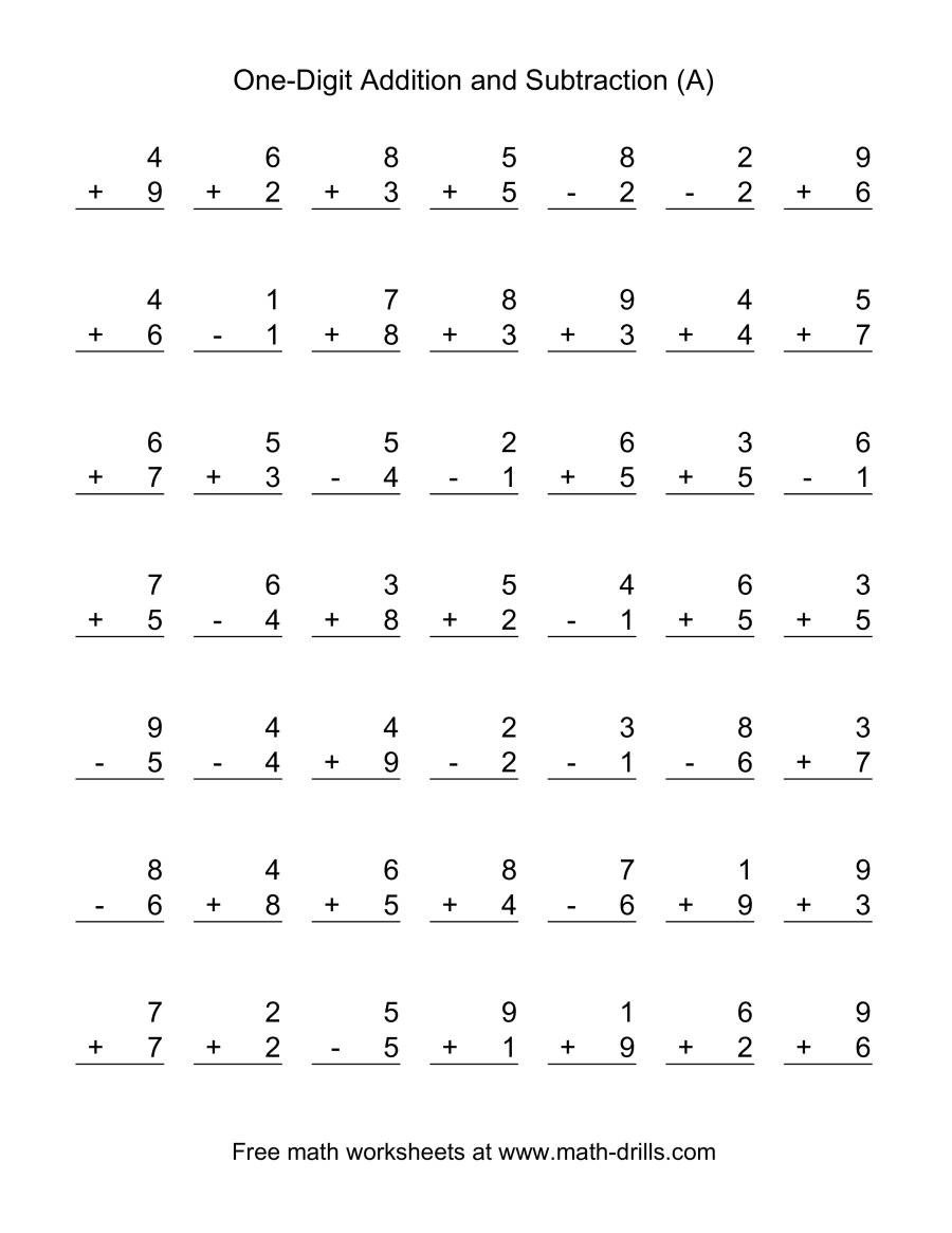 Single Digit Subtraction Worksheets Pdf Adding and Subtracting Single Digit Numbers A