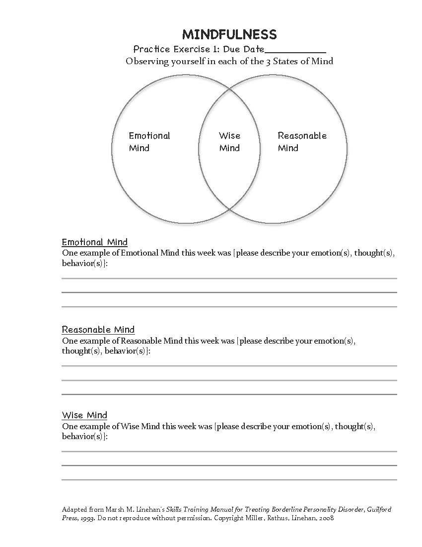 Social Skills Training Worksheets Adults Dbt Mindfulness Exercise Homework assignment 1 Adapted
