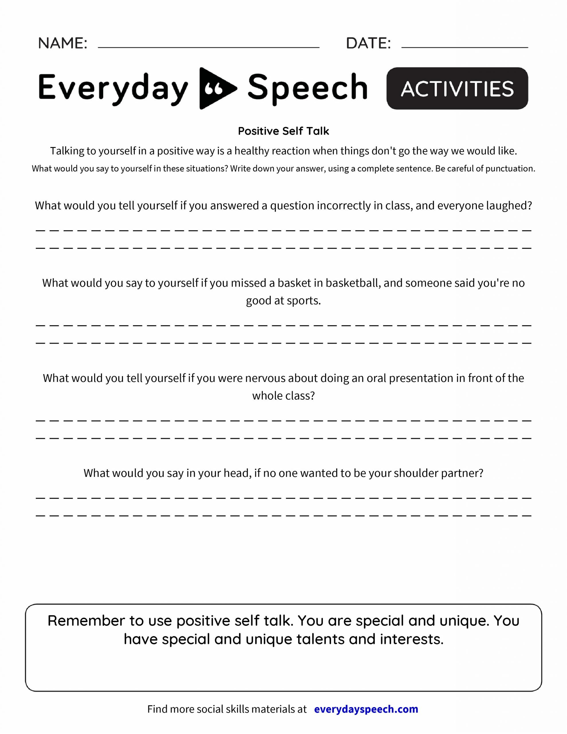 Social Skills Training Worksheets Adults Positive Self Talk Worksheet