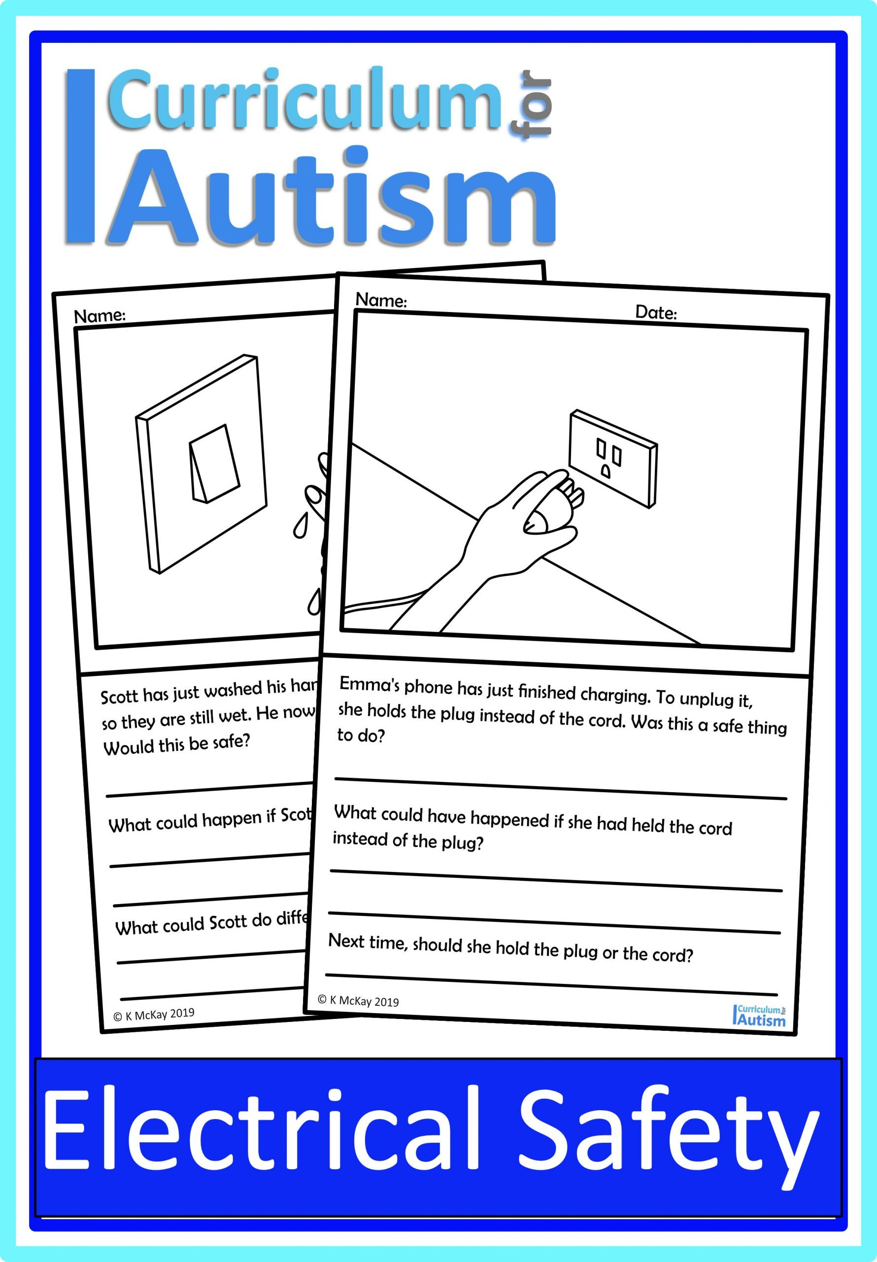 Social Skills Worksheets for Autism Electrical Safety Life Skills Worksheets — Curriculum for Autism