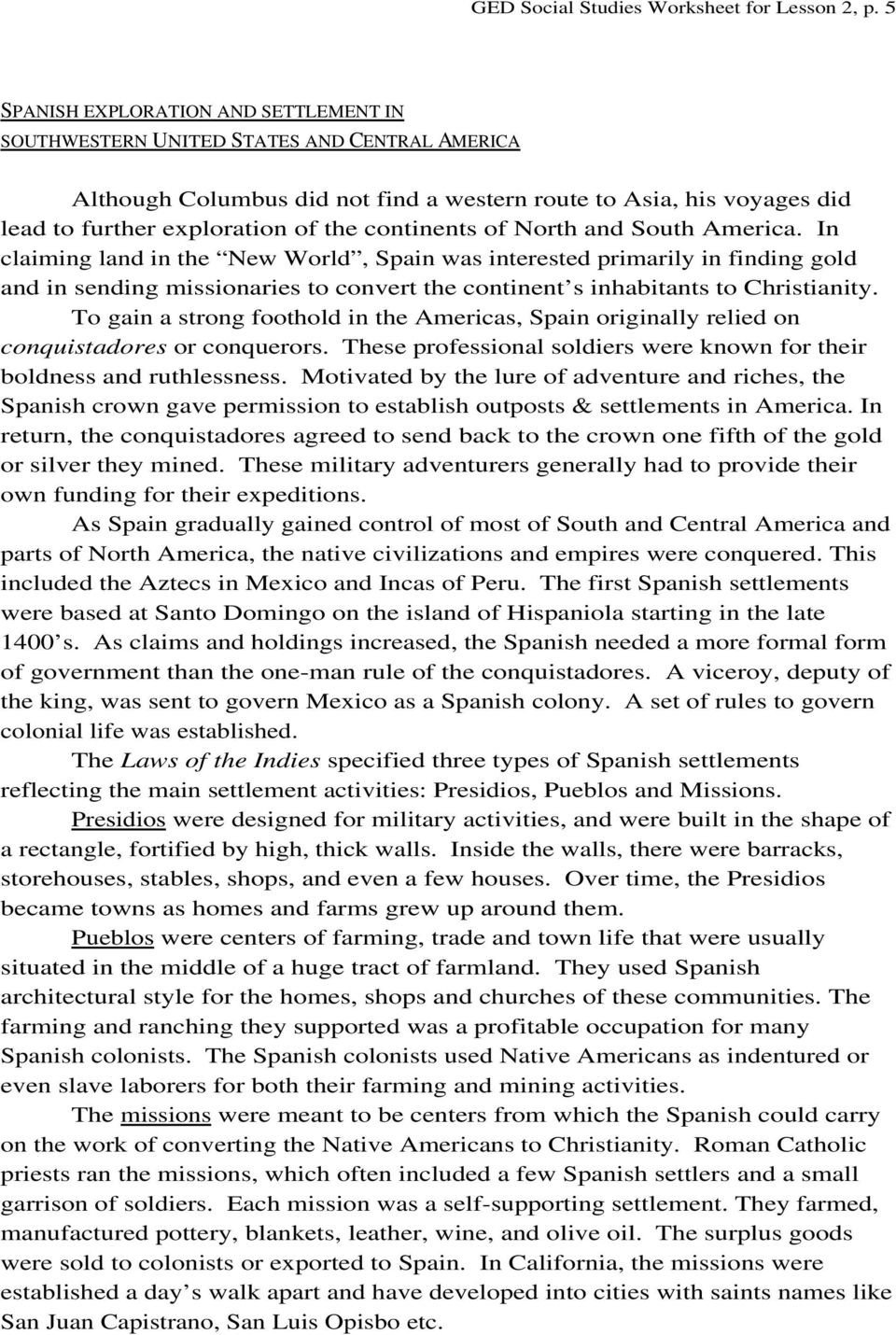 Social Studies Ged Practice Worksheets Ged social Stu S Worksheet Lesson 2 Pdf Free Download